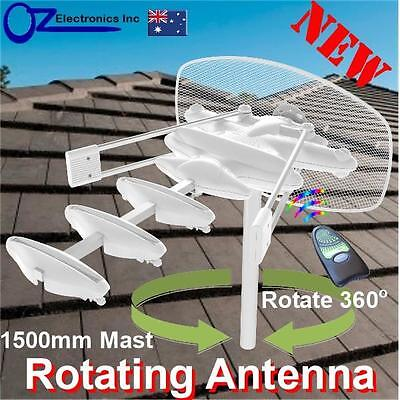 Rotating Remote control Outdoor TV Amplified Antenna UHF VHF FM Caravan RV NEW