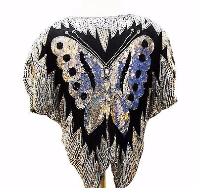 Vtg Sequined Butterfly Top 70s 80s Beaded Silver Silk Disco Blouse Shirt Bling