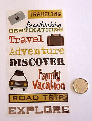 Scrapbooking No 216 - 17 Small To Medium Travel Sayings Stickers Pack