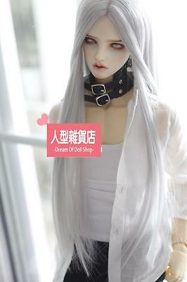 BJD Doll Hair Wig 9-10 inch 22-24cm silver  white central parting 1/3 SD