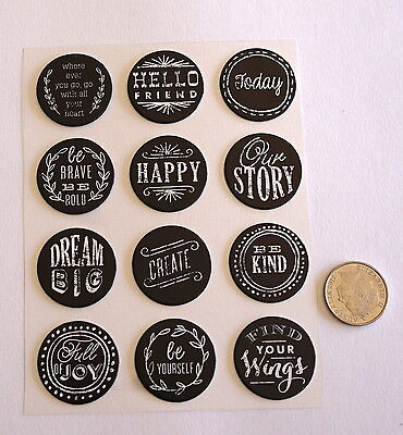 Scrapbooking No 340 - 12 Black & White Chipboard Saying Stickers - Mixed Pack