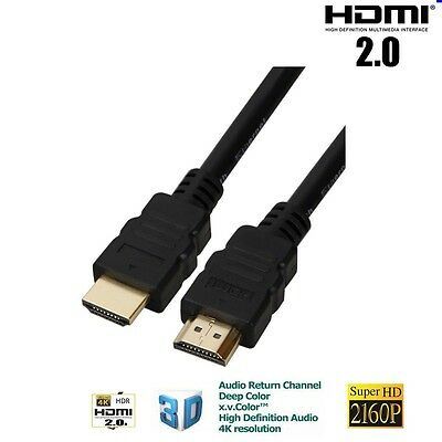 CÂBLE HDMI 2.0 4K 3D 2160P SUPER HD PLAQUE OR NEUF PS3 XBOX BLU RAY 1.5m