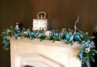Luxury 1.8m Frozen Christmas Garland Swag Ice Blue White Silver Baubles 6ft  #3