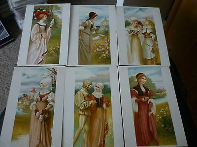 Superb Set of 6 Early Glamour Postcards, Chromo Litho
