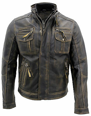 Men's Vintage Black Warm 100% Leather Retro Biker Jacket