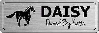 Personalised Metal Horse Door Sign Stable Plaque Custom Name Plate Gold Silver