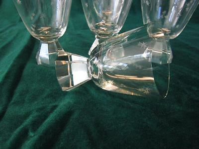 5 Octagon Stemmed Tiny Etched Stars Cordial - Sherry - Goblets - Barware - Bar