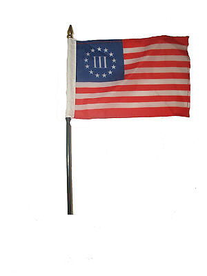 """Wholesale Lot of 6 Betsy Ross Nyberg 3% III 4""""x6"""" Desk Table Stick Flag"""