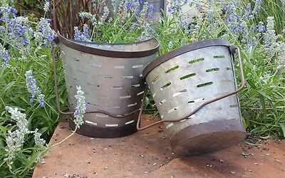Antique Style Metal Olive Bucket Set of 2