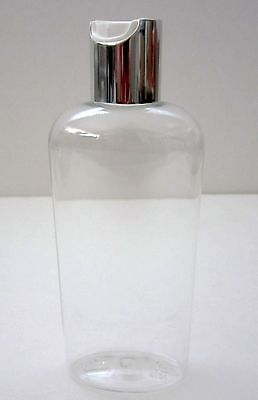 Qty 6 Clear 4 ounce PET Plastic Bottle Empty Cosmo Oval Silver / White Disc Cap