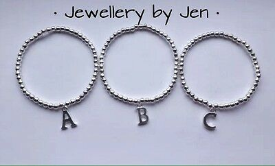 Silver Plated Beaded Bracelet With Initial Charm Stretch Elastic Handmade
