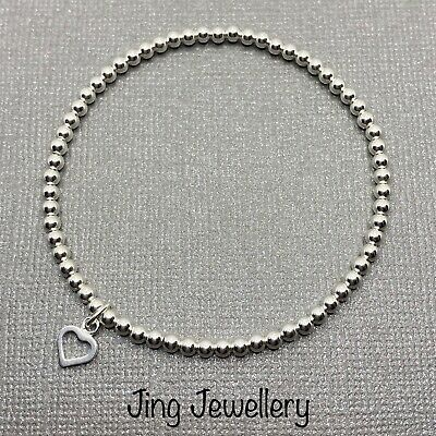 Sterling Silver 925 Beaded Stretch Stacking Bracelet With Mini Open Heart Charm