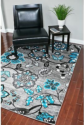 Persian Rugs Floral White Grey Turquoise Area Rug (5'2 X 7'2)