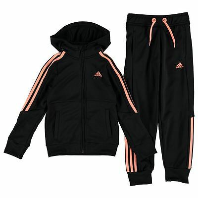 Adidas Girls HD Poly Tracksuit Black/Sun Glow New With Tags