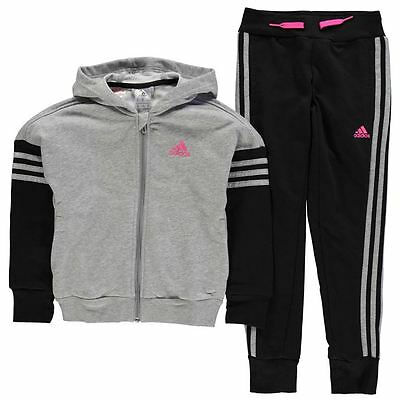 Adidas Girls 3 Stripe Hooded Jogging Suit Med Grey New With Tags