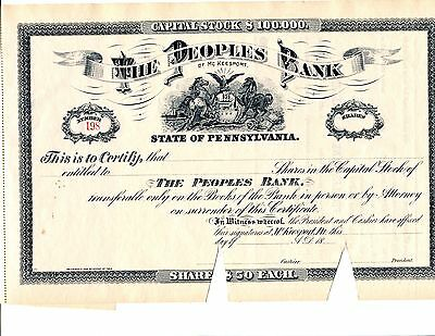 Unissued 18XX  The Peoples Bank of Mc Keesport Pennsylvania Stock Certificate