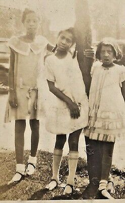 Antique African American Young Girls Outside  Old Photo Black Americana