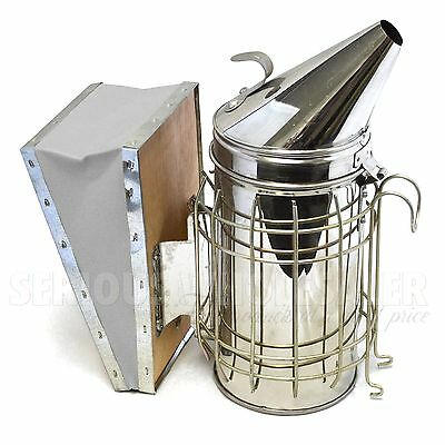 "Bee Hive Smoker Stainless Steel with Heat Shield Beekeeping Equipment 11""x4"""