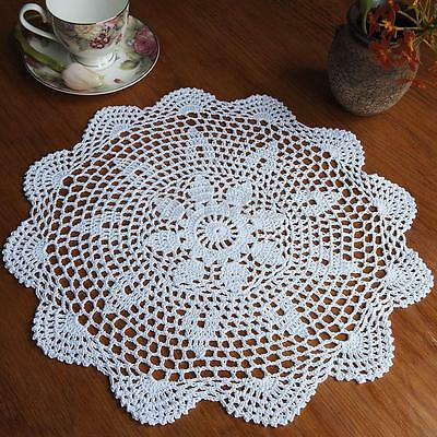 "14"" Vintage Floral Hand Crochet Cotton White Doily Round Flower Table Placemat"