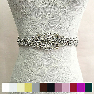 Rhinestone Bridal Sash Waist Belt Satin Ribbon Wedding Party Dress Solid Deluxe