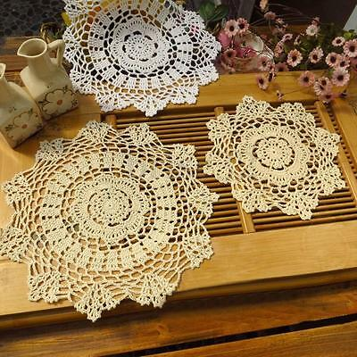 11.8'' Vintage Cotton Placemat Hand Crocheted Lace Doilies Flower Table Coasters