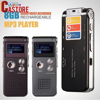 Digital Audio Voice Recorder Rechargeable Dictaphone TelephoneMP3Player IronGray