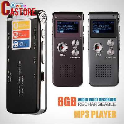 Digital Audio Voice Recorder Rechargeable Dictaphone TelephoneMP3Player8GB BlacK
