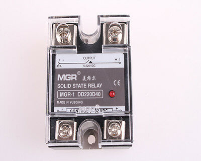 MGR-1DD220D40 DC 3-32V to DC5-220V 40A Solid State Relay w Clear Cover