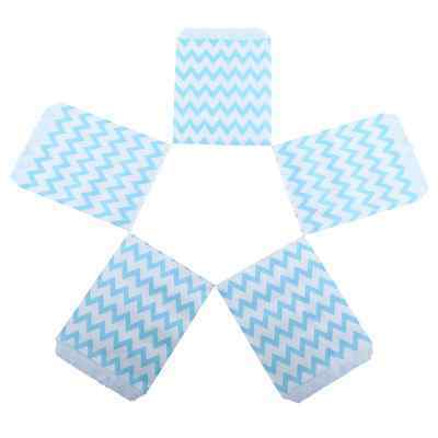25X Chevron Wedding Birthday Sweet Candy Favour Popcorn Paper Party Bags Blue