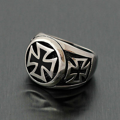 Men's Knight Templar German Iron Cross Pattee Patty Biker Stainless Steel Ring