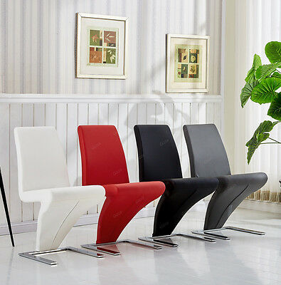 Modern Z Shape Chrome Stainless Steel Frame Faux Leather Dining Chair 4 Colours
