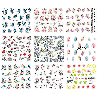 50 Sheets/Lot Mixed 3D Flower Butterfly Water Nail Stickers Decal Art Tips Decor