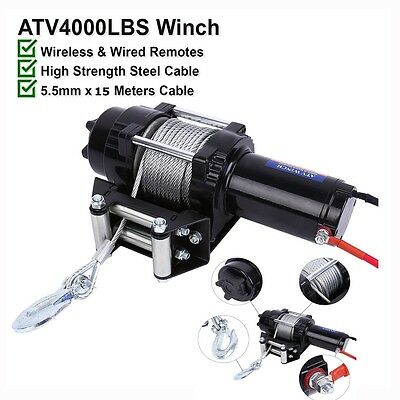 HOT 12V 4000LBS Electric Winch Steel Cable Boat Winch 4WD ATV 4X4 With Remote AU