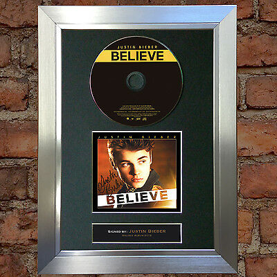 JUSTIN BIEBER Believe Signed Autograph CD & Cover Mounted Print A4 14
