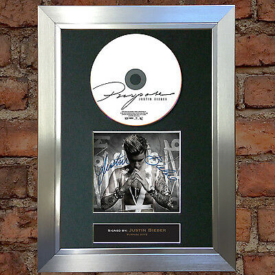 JUSTIN BIEBER Purpose Album Signed Autograph CD & Cover Mounted Print A4 68