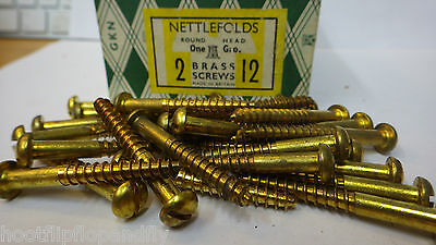 "20 x NETTLEFOLDS 1 1//4/"" x 14  BRASS COUNTERSUNK SCREWS GKN SLOTTED RESTORE NOS"