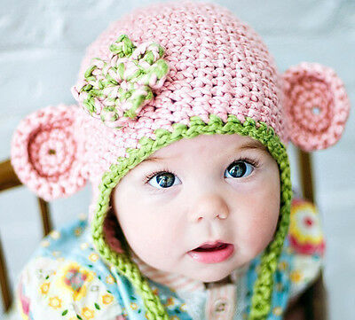 Baby Girl Pink Monkey Beanie Hat Cap Photo Props Crochet Knitted 0-3, 3-6 Mths