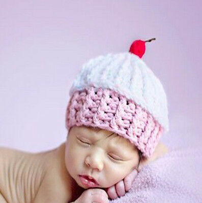 Baby Girl Cupcake Beanie Hat Cap Photo Props Crochet Knitted 0-3, 3-6 Months