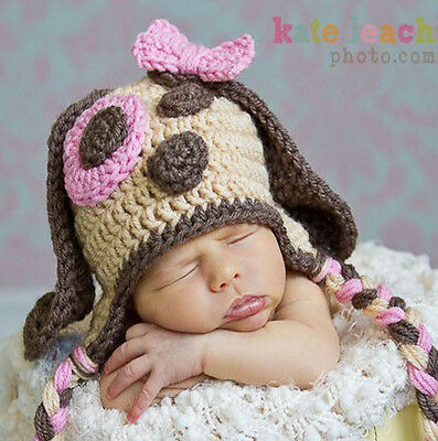 Baby Girl Puppy Beanie Hat Cap Photo Props Crochet Knitted 0-3, 3-6 Months