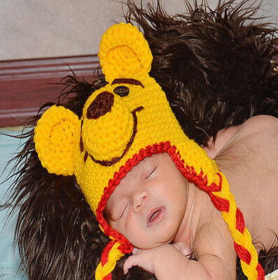 Baby Winnie the pool Beanie Hat Cap Photo Props Crochet Knitted 0-3, 3-6 Months