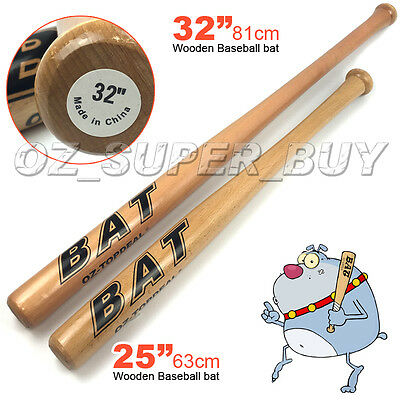 "Wood Baseball Bat 25""/63cm-32""/81cm Self -Defense Family Safety Exercise Sports"
