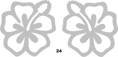 2 x Frosted Hibiscus Flower Decals © 2 sizes - Glass decor car mirror (24)