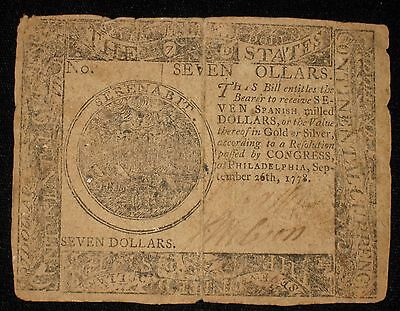 US Continental Currency - Seven Dollars - September 26, 1778 ** Rare ** (CC-180)