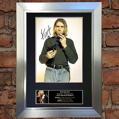 KURT COBAIN Signed Autograph Mounted Photo Repro A4 Print 76