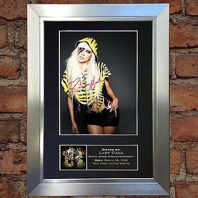 LADY GAGA Signed Autograph Mounted Photo Reproduction A4 Print 236