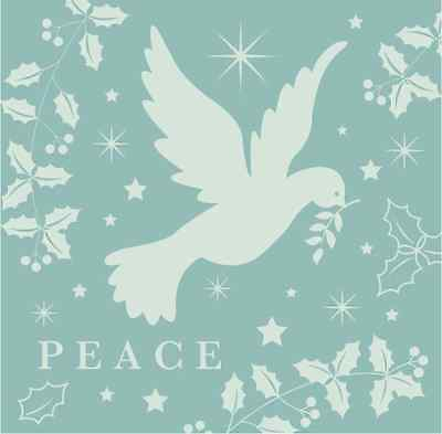 St Giles Hospice PEACE TO ALL MANKIND Christmas Cards, 10 cards with envelopes