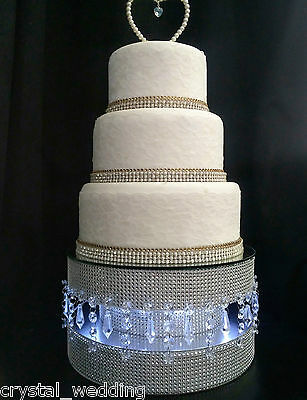 Diamante cake stand with LED lights & Mirror top & Crystal Linked Podium table
