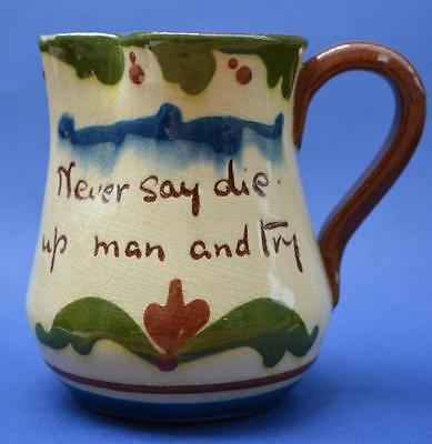 DEVON POTTERY:  MOTTO WARE JUG Never say die up man and try!