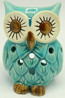 Ceramic Owl Shape Design Tart & Candle & Oil Warmer Potpourri Oil Burner Blue
