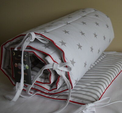 Cot Bed Bumper Grey White  Stars Stripes  Boys & Girls  red  piping Cotton